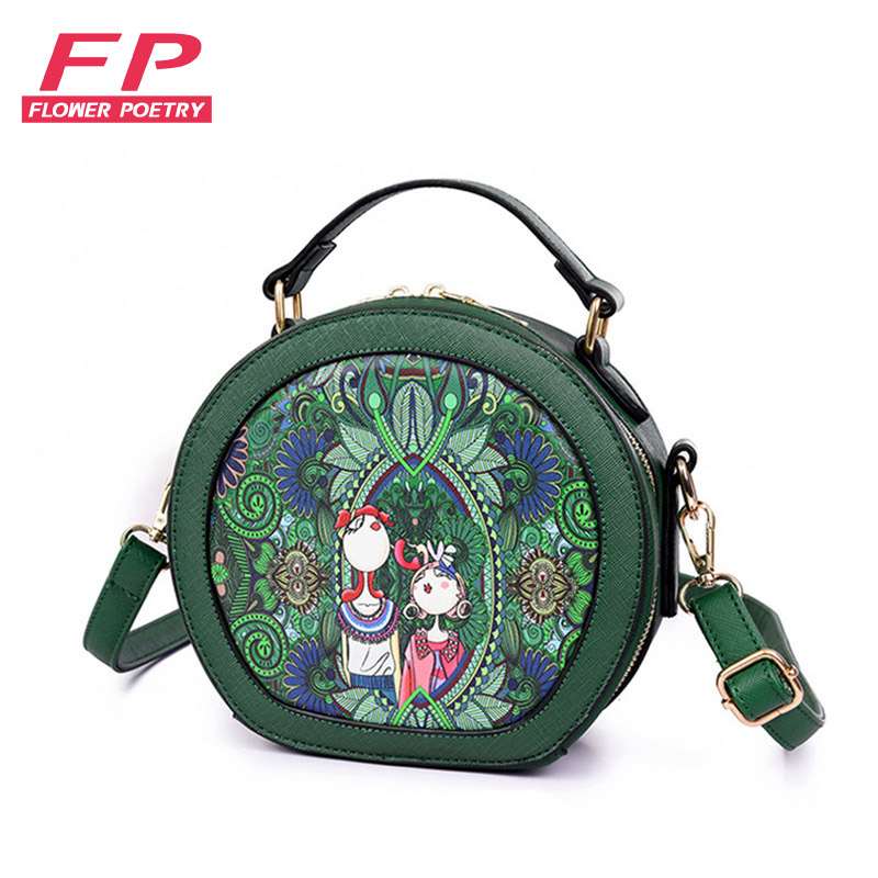 Flower Poetry Women Small Bags Mini Messenger Bag Lady Fashion Round Shoulder Bags For Girls Handbag