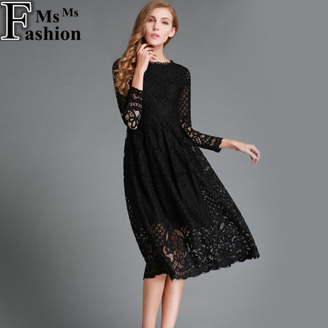 Merderheow New European 2017 Spring Women's Lace Hollow Out Long Dresses Femme Casual Clothing Women Sexy Slim Party Dress L13