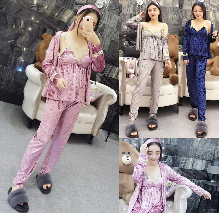 Newest Women 3 pieces Pajama Set Sexy Lace Top+Velvet Shirt+Pant suit women's Pajamas Sleepwear Satin Pajamas