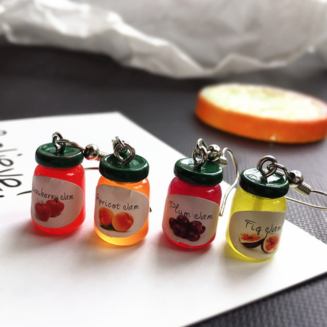 Resin Cute Mini Fruit Jam Drink Bottle Unique Dangle Earrings Women's Fashion Personality Birthday Gifts for Lover Funny Jewelry