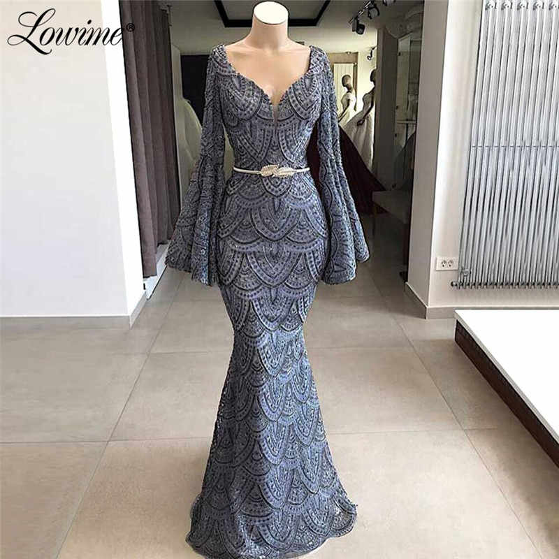 Kant Saudi Arabische Avondjurken Custom Made Kleur Moslim Turkse Dubai Partij Jassen Mermaid Met Lange Mouwen Prom Dress 2019