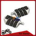Black&Chrome Motorcycle Foot Rest Foot Pegs Left Right For Harley Davidson Male Mount Bike Cruiser Moto Footrest Aluminum&Rubber
