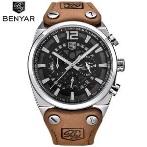 Image 2 - Top Brand BENYAR Large dial design Chronograph Sport Mens Watches Fashion Military Waterproof Quartz Watch Relogio Masculino