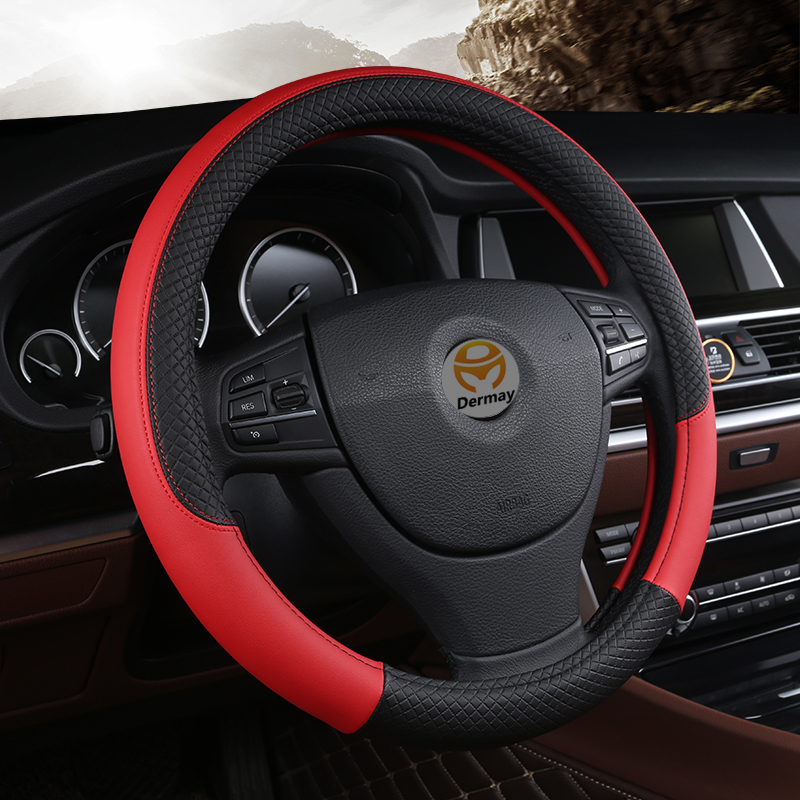 Cubierta Universal del volante del coche de cuero de la PU 38 cm cubierta del volante del coche del deporte del coche cubre los accesorios antideslizantes del automóvil