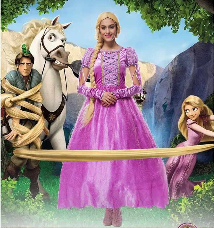 Gratis pengiriman, wanita dewasa anak gadis ungu tangled rapunzel putri kostum dress sarung tangan gadis kartun film kostum