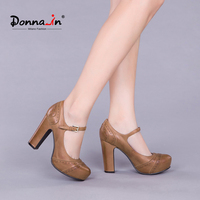 Donna in fashion ladies shoes platform high heel pumps genuine leather women's shoes retro carved thick heel Mary Jane shoes
