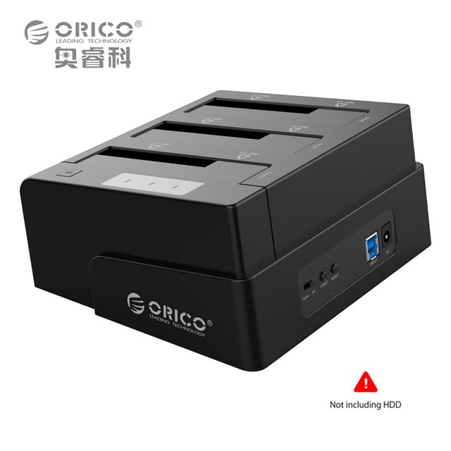 Orico 6638us3-c usb 3.0 sata 2.5 ''/3.5'' off-line clone docking station hdd plug ue-preto (sem disco rígido)
