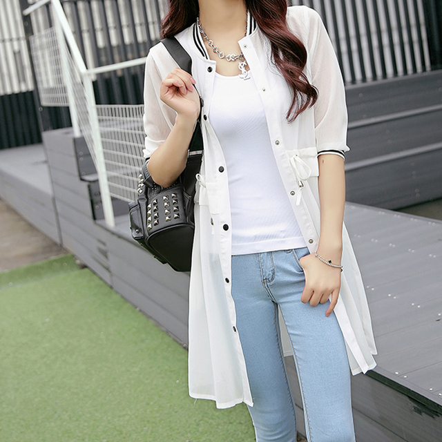 2016 Cardigan New Summer Fashion O-Neck Three Quarter Sleeve Cardigans Pure Color Casual Slim Chiffon Women Cardigan JN739