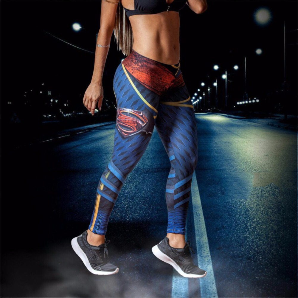 superman 3d women sport legging fitness leggings yoga pants female elastic running tights women. Black Bedroom Furniture Sets. Home Design Ideas