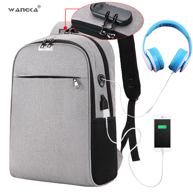 WANGKA USB Charging Laptop Backpack 15.6 inch