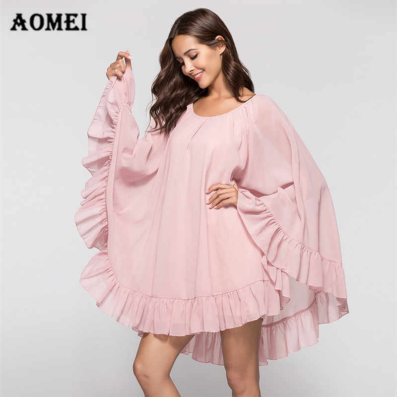 f12f0f6f7d Girls Chiffon Cloak Dress with Ruffles Trim Summer Loose Sleeve Casual Lady  Women Oversize Mini Short
