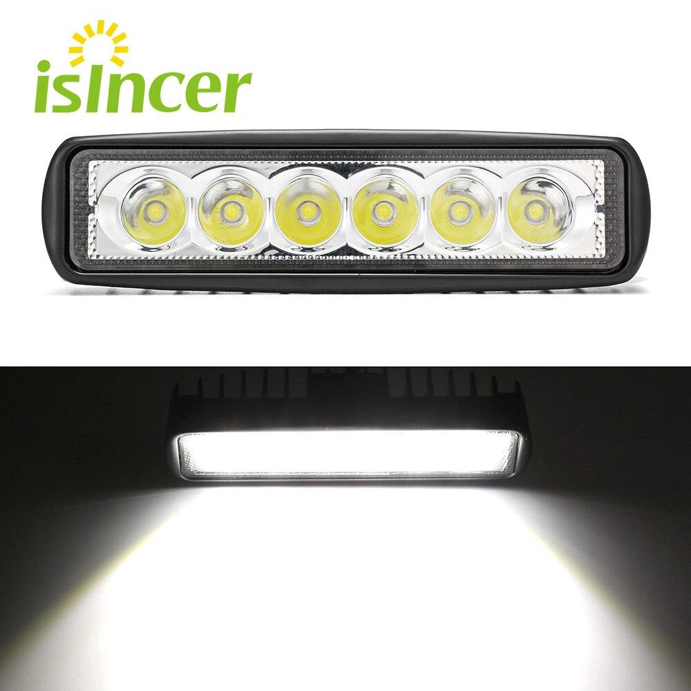 18 W Projecteur Lumière Travail LED Bar Conduite Brouillard Lampe Offroad SUV 4WD Voiture Bateau LED Travail Lumière pour Toyota Moto Tracteur Auto