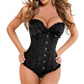 Women Sexy Satin Corset Brocade Floral Bustier Top Lace Up Back Lingerie Bodyshaper Shapewear Waist  Corsets S~6XL