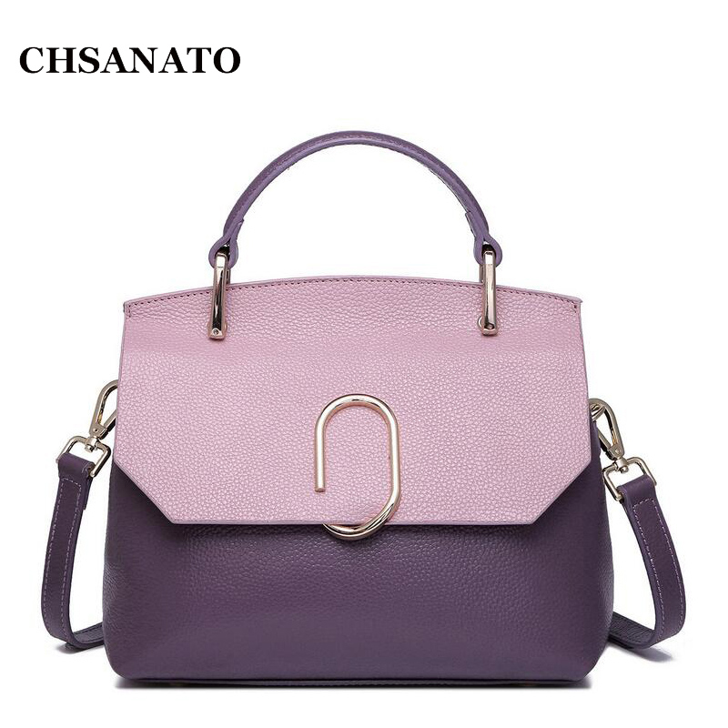 2018 Women Messenger Bags Handbags High Quality Genuine Leather Totes Fashion Shoulder Crossbody Bag Small Tote Bag bailar fashion women shoulder handbags messenger bags button rivets totes high quality pu leather crossbody famous brand bag