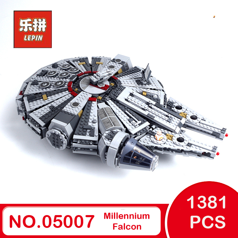 LEPIN 05007 Star Series War Building Blocks Force Awakens Millennium LEGOings 75105 Falcon Model Toys For Kid Christmas Gift lepin 05007 stars series war 1381pcs force awakens millennium toys falcon diy set model building kits blocks bricks children toy