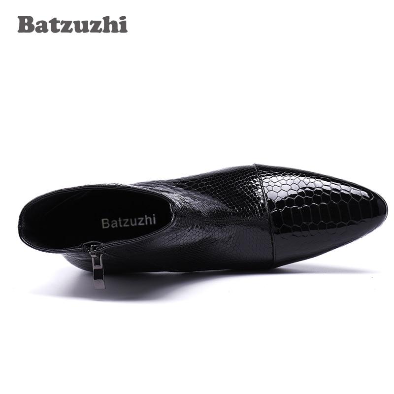 daa25455183 Batzuzhi 7CM High Heels Men Boots Pointed Toe Black Leather Boots Men  Handsome Ankle Boots for Men Wedding & Party, Size 38-46