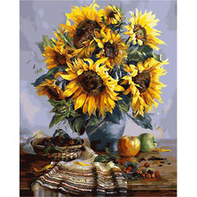Home Decor Canvas Paint By Numbers Kit Oil Painting DIY Yellow Flower No Frame(China)