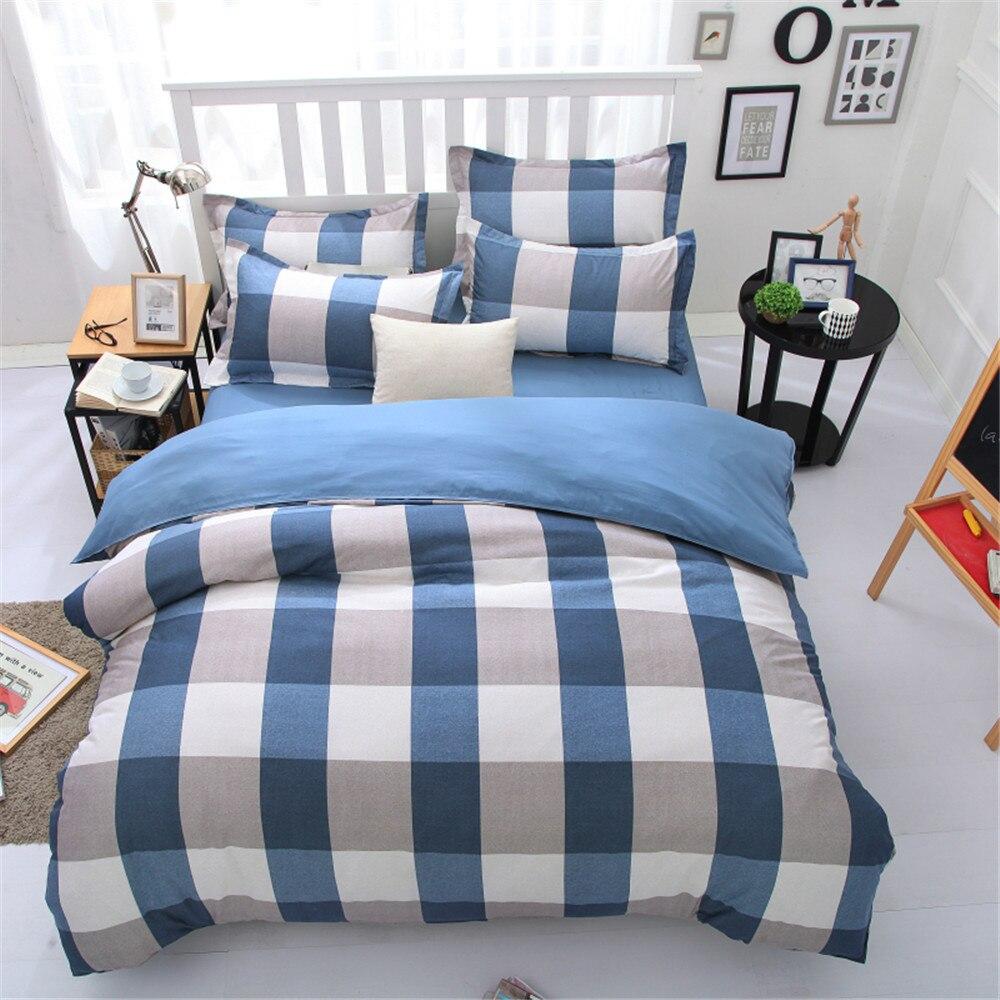 plaid geometric comforter bedding bed set kids 45 pcs square blue quilt duvet cover - Twin Bed Comforters