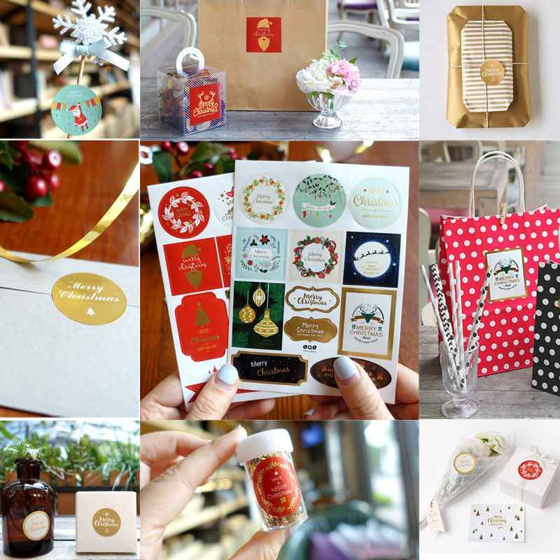Diy Cute Christmas Theme Decoration Package Label Multifunction