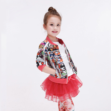 Kids Baseball Jackets Girl's Fashion Print Jacket Children's Short Bomber Jackets Baby Trench Fille Coat Baby Girl Winter Coats