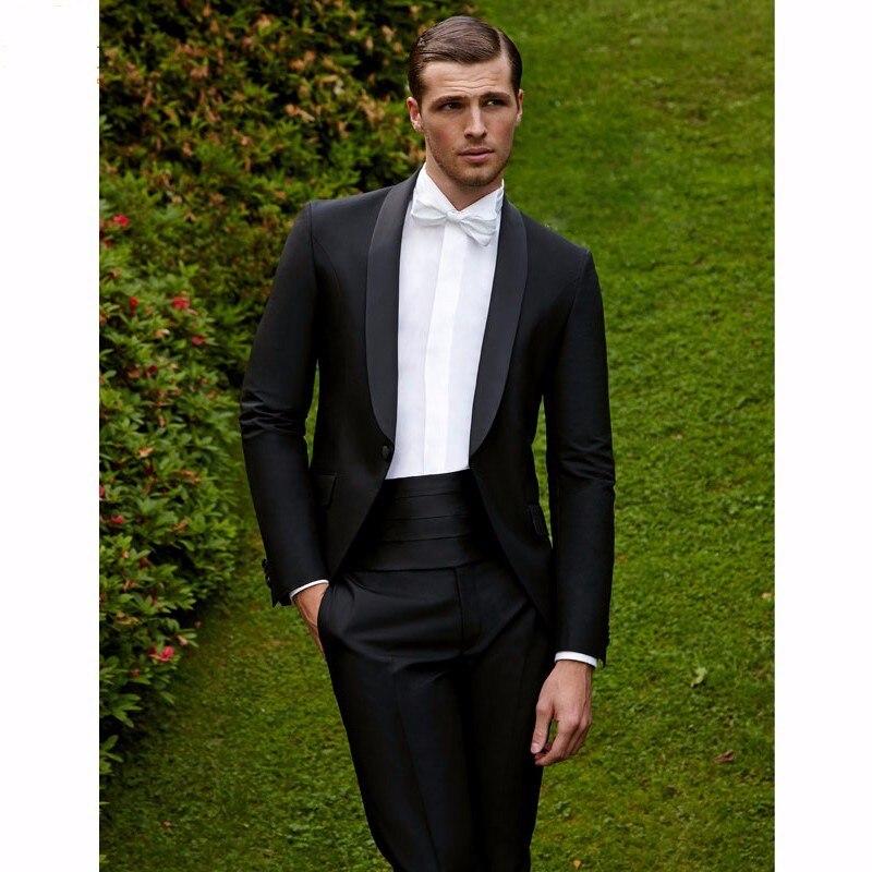 Beau Un Bouton Noir Smokings de Marié de Garçons D honneur Hommes Mariage  Prom Costumes Epoux (Veste + Pantalon + Ceinture + cravate) K  1090 f78e4914f02
