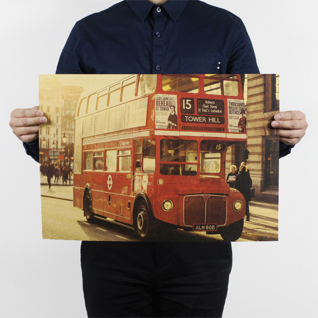US $1 6 |Sale New Vinilos Paredes Tree Wall Sticker Home Decor Vintage  Paper Retro Poster Wall Art The Phone Booth And Bus 51*35 5CM-in Painting &