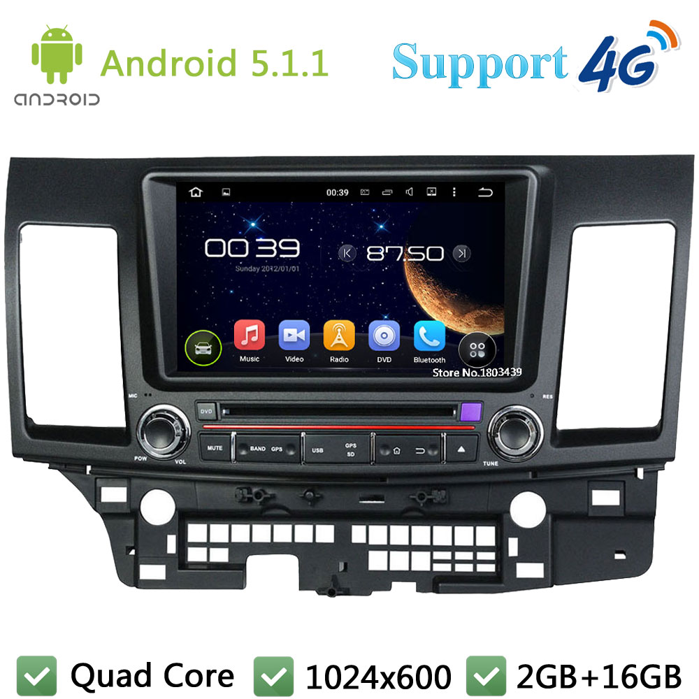 "Quad Core 8"" 1024*600 2Din Android 5.1.1 Car DVD Multimedia Player Radio DAB+ 3G/4G WIFI GPS Map For Mitsubishi Lancer 2006-2012"