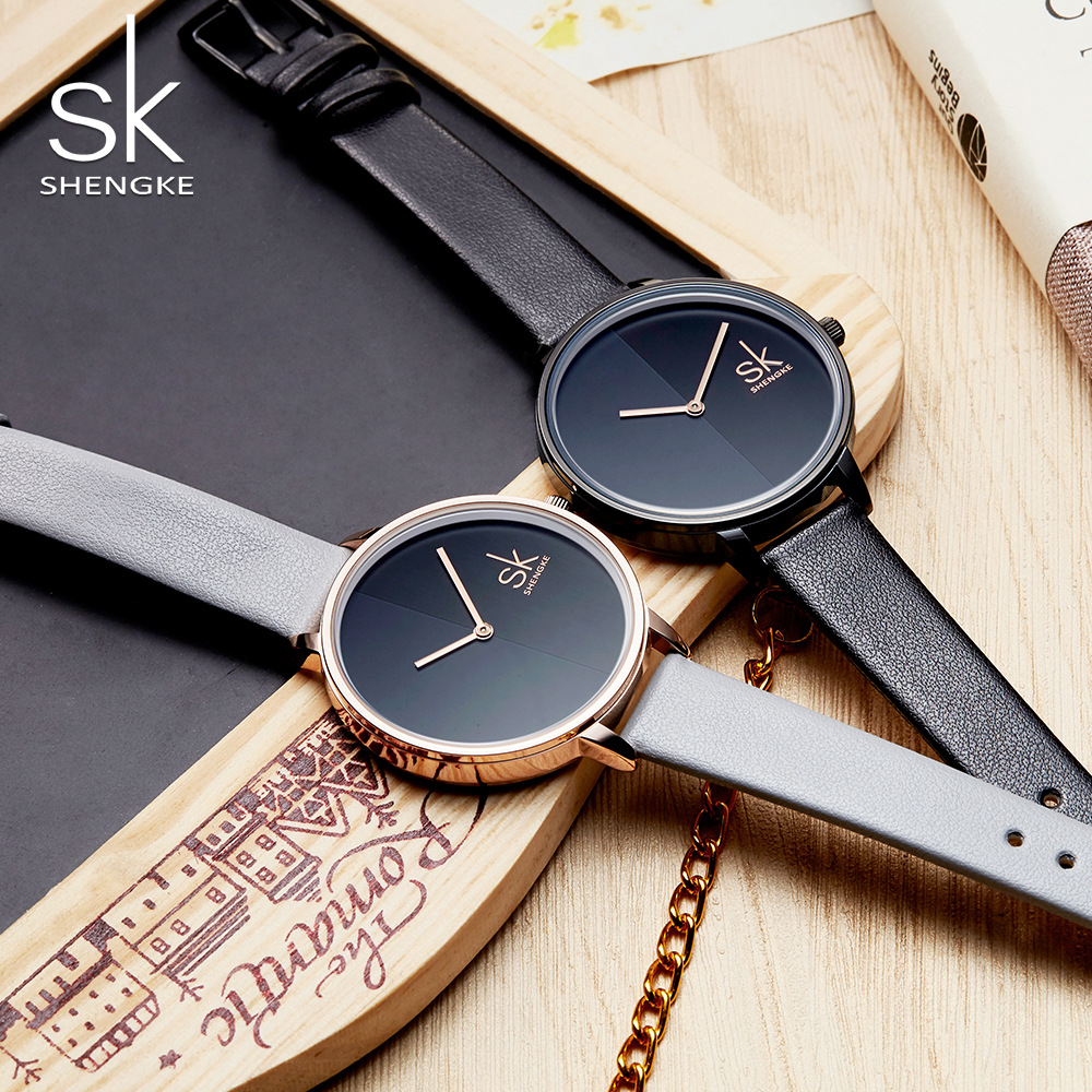 Shengke Brand Women Watches Simple Black Leather Wristwatch Fashion Luxury Ladies Quartz Wrist Watch for Woman Relogio Feminino relogio feminino sinobi watches women fashion leather strap japan quartz wrist watch for women ladies luxury brand wristwatch