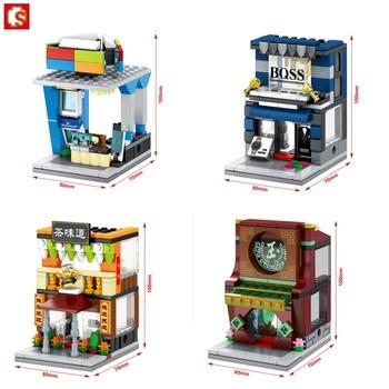 Nowe bloki SEMBO mały sklep HK Cafe restauracja Model plastikowe zabawki do budowania Mini sklep uliczny zegarek sklep dla dzieci zabawki dla dzieci prezenty tanie i dobre opinie Funnyfull CN (pochodzenie) Unisex 3 lat Mikroklocek do budowania SD6084-SD6087 BLOCKS Small parts unsuitable for Children under 3 years