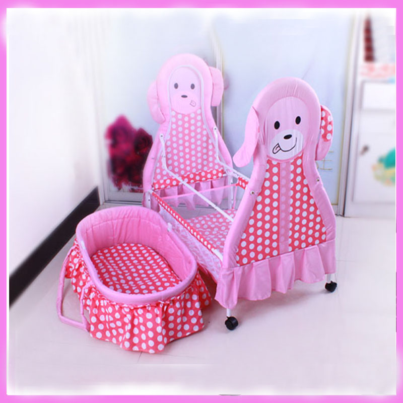 Newborn Bedding Set Multifunctional Folding Portable Infant Baby Crib Netting Cradle Bed Sleeping Basket Baby Roller Wheels Crib mosquito nets curtain for bedding set princess bed canopy bed netting tent