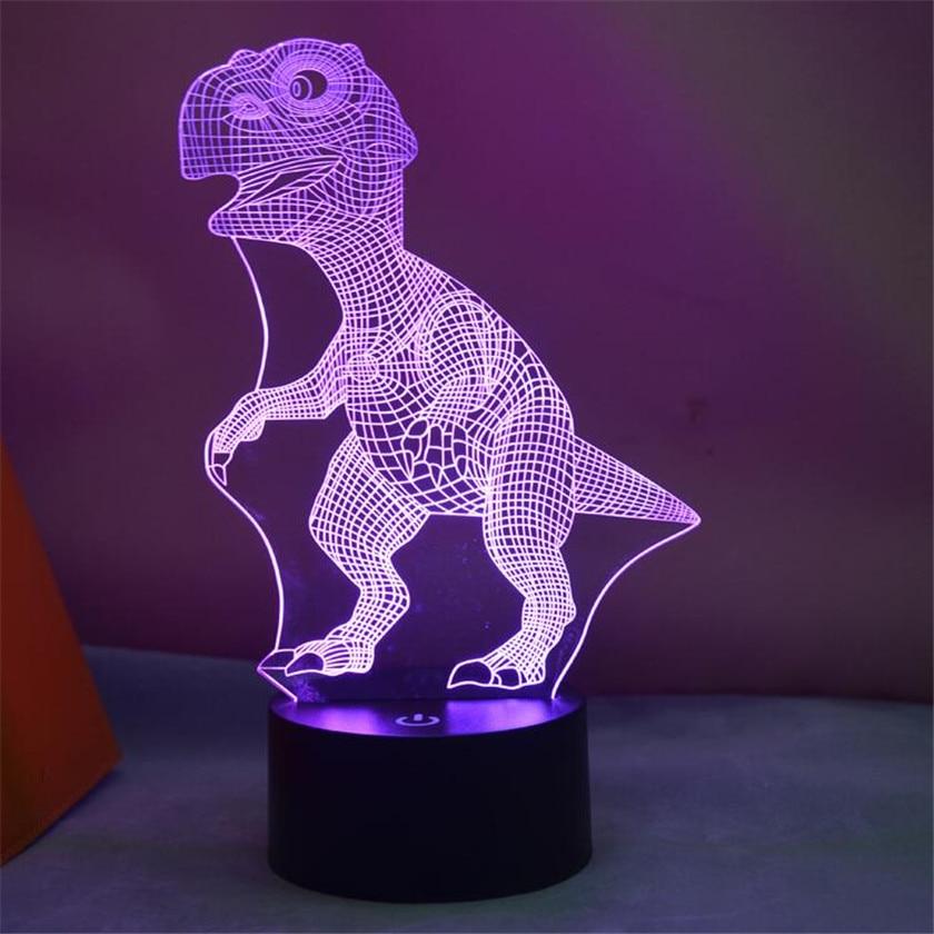 Novelty Desk Light Night Light Colorful USB LED 3D Illusion Dinosaur Table Lamp For Decorative Childrens Luminaire Abajur Para