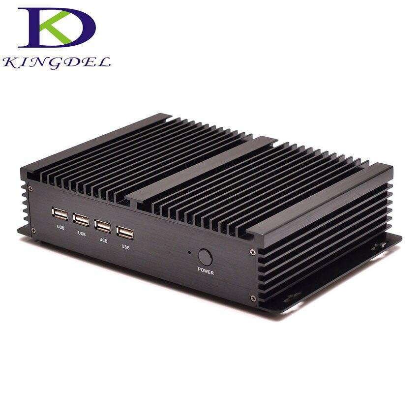 Бесплатная доставка двойной RJ45 LAN игр PC 4 г Оперативная память 64 г SSD безвентиляторный промышленный Мини-ПК рабочего Intel Celeron 1037u Blu-Ray 1080 P 4 * COM
