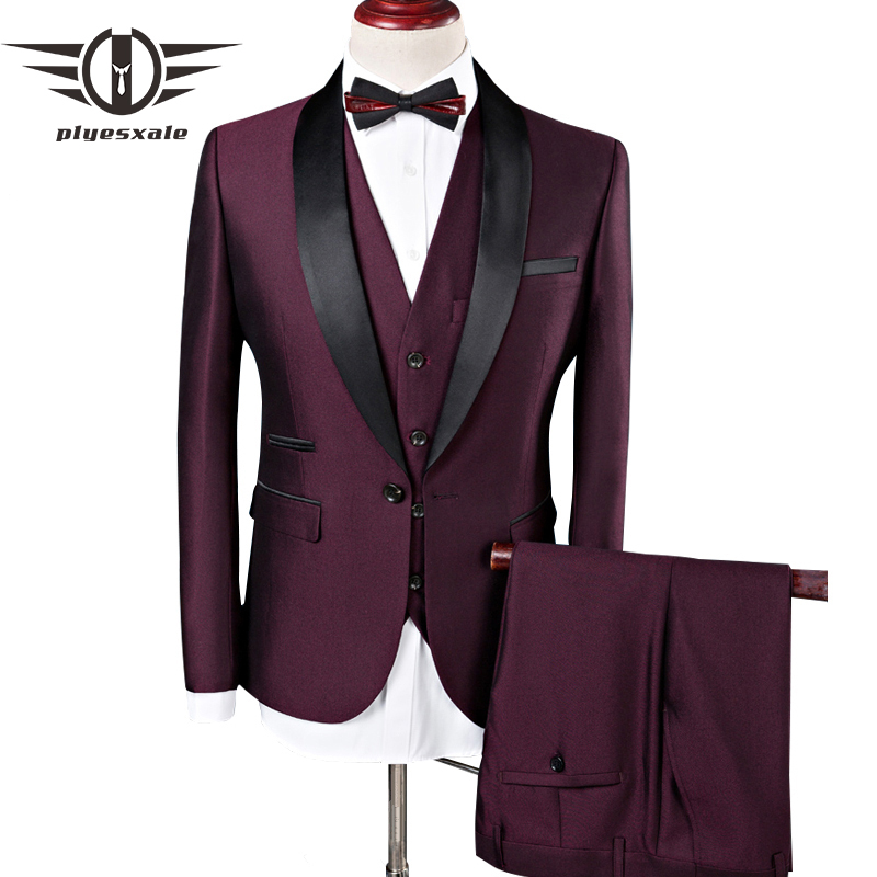 Plyesxale 2018 Wedding Suits For Men Shawl Collar 3 Pieces Slim Fit Burgundy