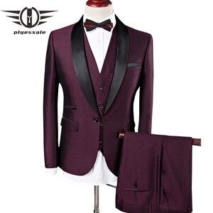 Image 1 - Plyesxale גברים חליפת 2018 חתונה חליפות גברים צעיף צווארון 3 חתיכות Slim Fit בורדו חליפת Mens רויאל כחול טוקסידו מעיל Q83