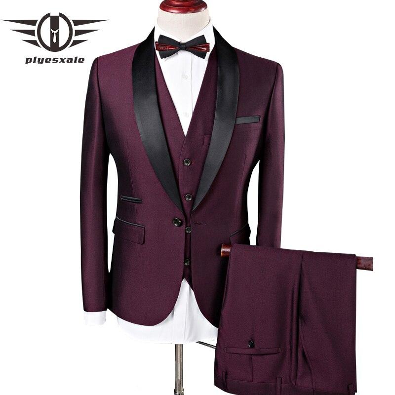 Plyesxale Degli Uomini Del Vestito 2018 Abiti Da Sposa Per Gli Uomini Collo a Scialle 3 pezzi Slim Fit Borgogna Vestito Mens Royal Blu Tuxedo giacca Q83