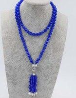 Blau runde 8mm 4mm weiße perle runde leopard verschluss halskette 33 zoll großhandel perlen natur geschenk rabatt FPPJ FPPJ