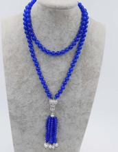 blue stone beads round 8mm 4mm white pearl round leopard clasp necklace 33inch wholesale beads nature gift discount FPPJ FPPJ