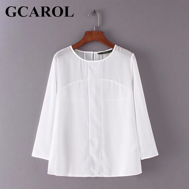 GCAROL 2018 New Arrival Women Spliced Chiffon Blouse Elegant Neat OL Shirt Summer Spring Translucence Basic Tops
