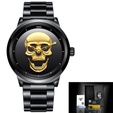 2018 New LIGE Creative Skull Men Watches Fashion Sports Top Brand Watch Men Waterproof Stainless Steel Watch Relogio Masculino
