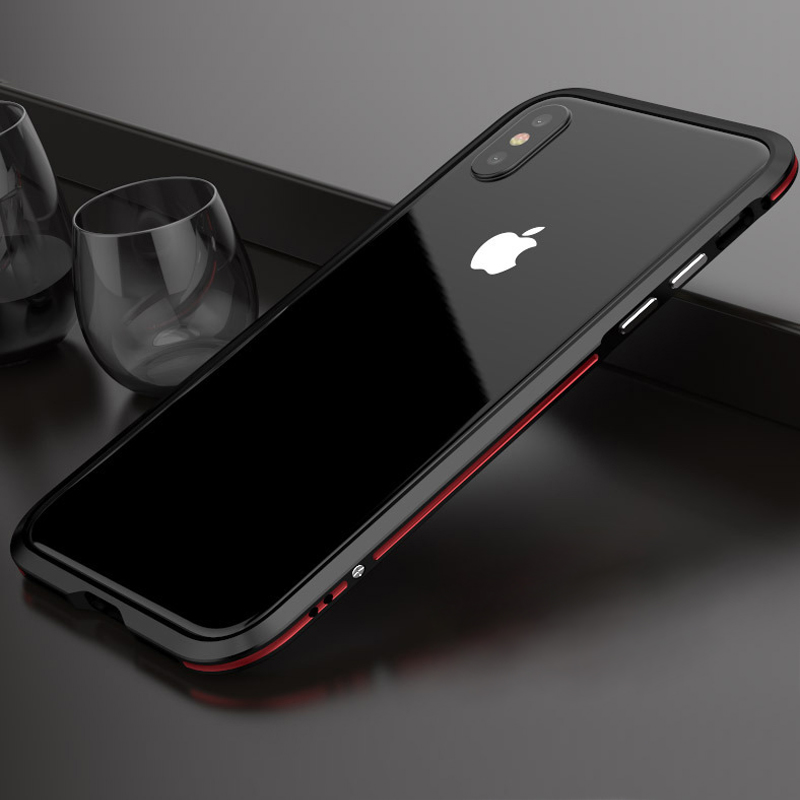 Luphie metal bumper case for iphone x luxury aviation aluminum frame phone cases cover for iphone 8 plus dual colors coque funda iPhone XS