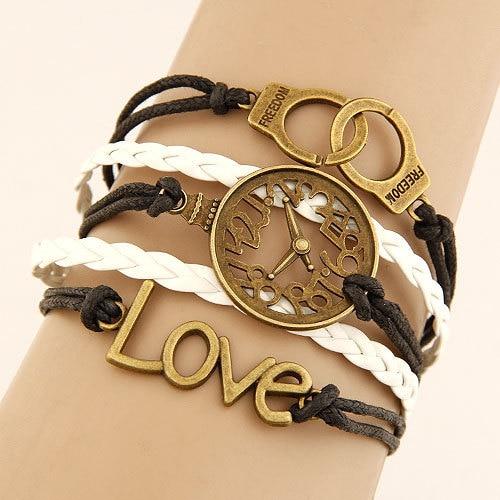 Inexpensive Charm Bracelets: Charm Vintage Multilayer Charm Leather Bracelet Women Owl
