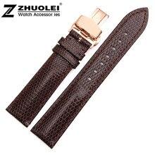 18mm 20mm 22mm 24mm Noir Brun En Cuir Véritable Bracelets Montres Bretelles Bracelets Or Rose Depolyment Fermoir boucle Livraison Gratuite