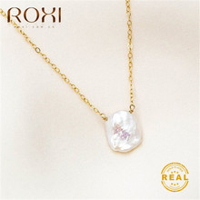 ROXI Real Freshwater Pearl Necklace Women Wedding Baroque Choker Copper Link Chain Boho Birthday Gift Jewelry
