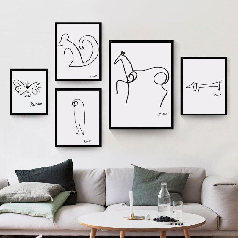 Pablo picasso abstract animal dog squirrel horse for Minimalist wall art