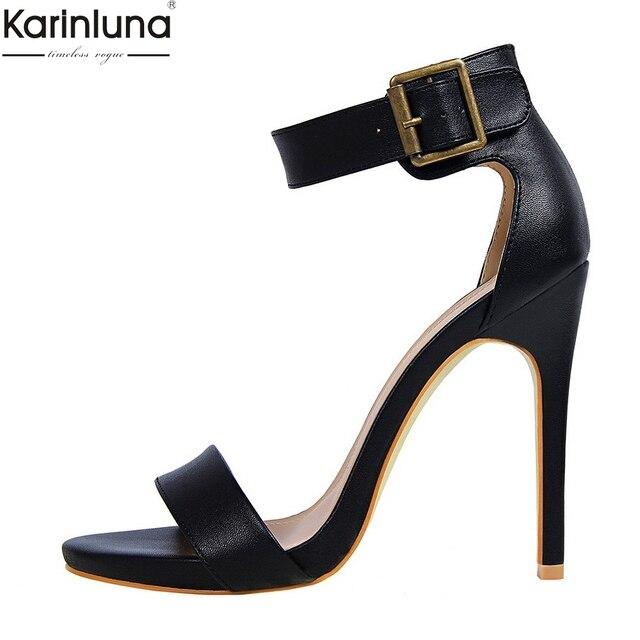 Karinluna pattini Degli Alti Talloni DELL'UNITÀ di elaborazione delle Donne di disegno di marca Sandali di Cuoio di Estate del Commercio All'ingrosso dropship Lady Nude Sexy Pompe di scarpe da donna