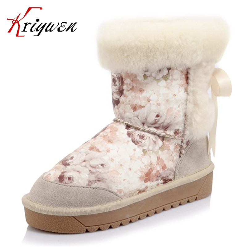 ФОТО Large size 34-43 New 2017 pink beige Ankle Boots For Women Fashion ladies Winter Shoes microfiber fur plush print snow boots