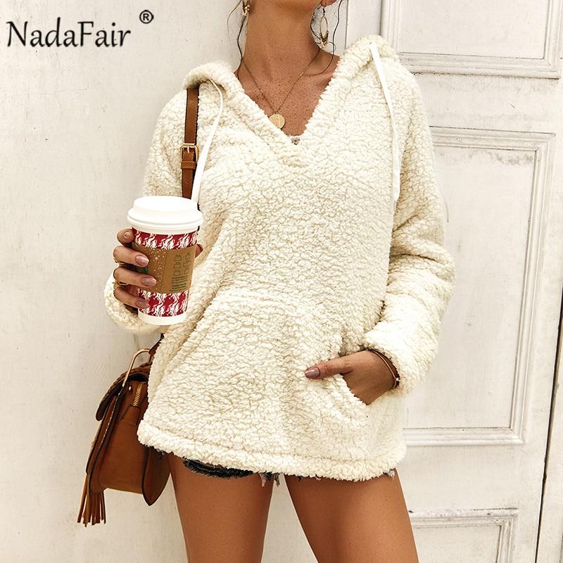 Nadafair Oversized Fluffy Hoodie Women Fleece Casual Hooded Sweatshirts Autumn Winter Thick Faux Fur Hoody Ladies Teddy Coat