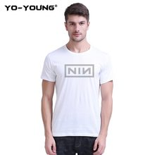 Yo-Young Men T-Shirts Captain Marvel Carol Danvers NIN Letters Print 100% 180g Combed Cotton Casual Unisex Tee Shirts Customized(China)