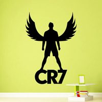 DCTAL Cristiano Ronaldo Football Player Sticker Sports Soccer Decal Helmets Kids Room Name Posters Vinyl Wall