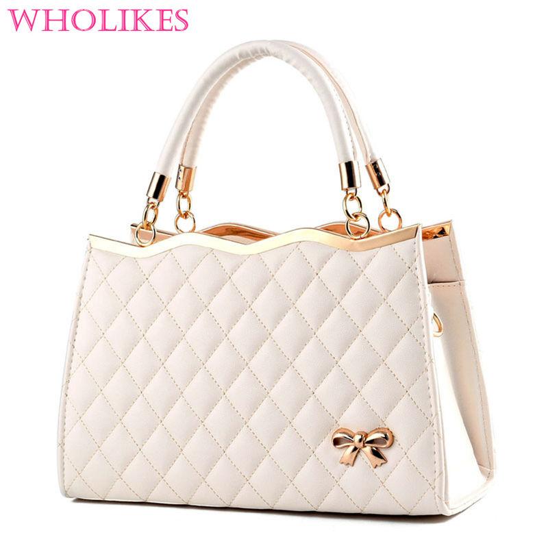 Wholikes 2017 Fashion Brand Beige PU Leather font b Women b font Shoulder font b Handbags